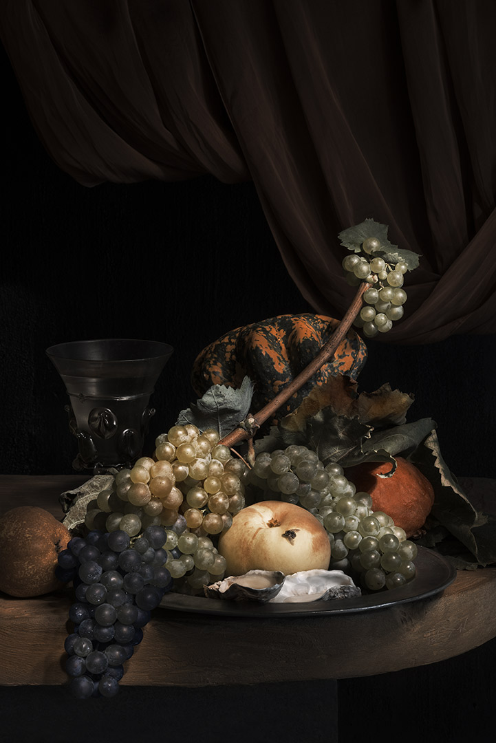 Still life with grapes, pears and peaches