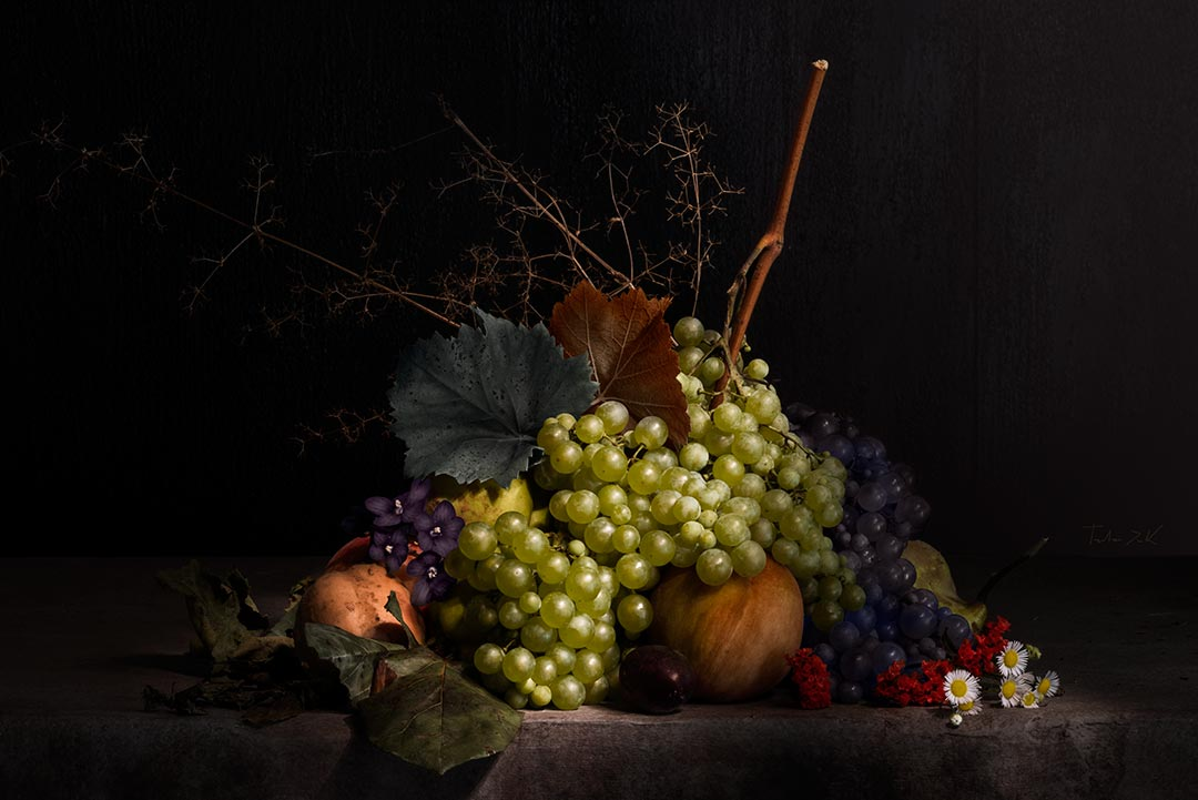 Tristan Dark Still Life Grape Fruit Flowers DSC5865