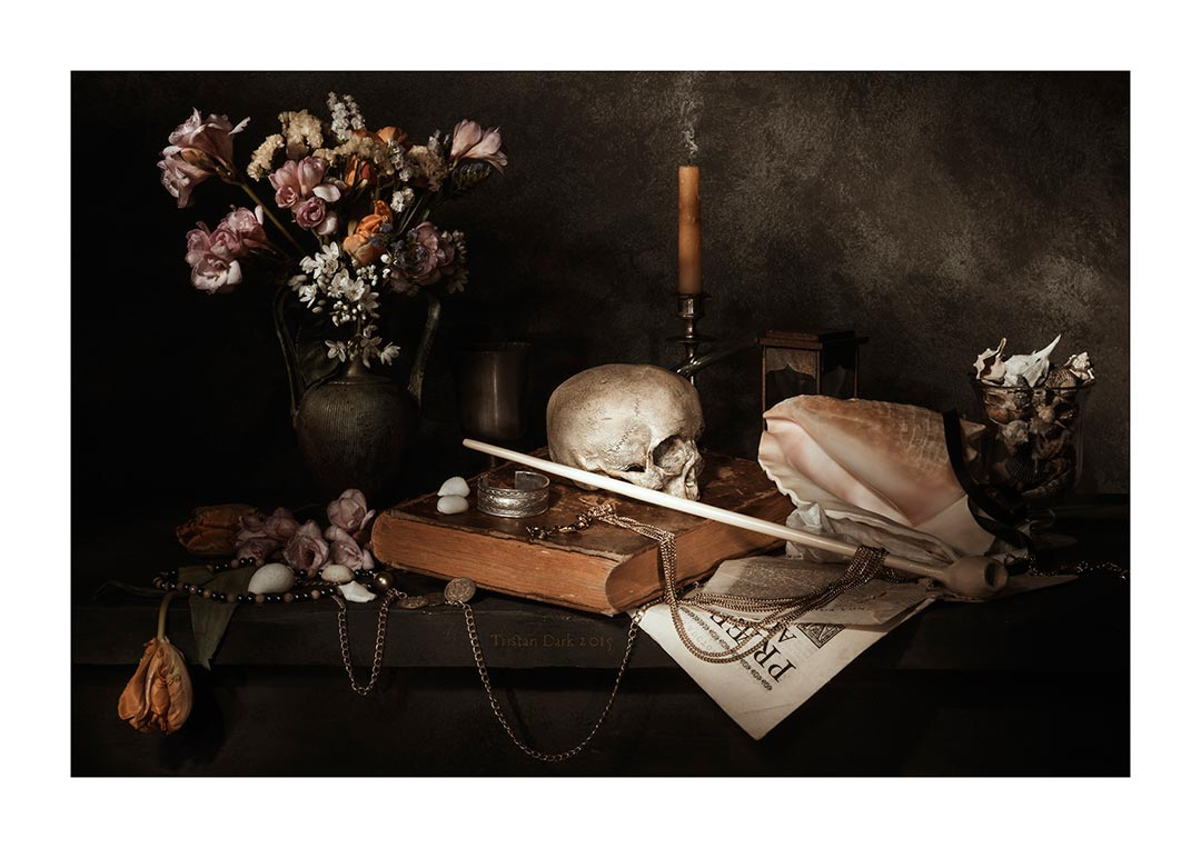 Still Life With Flowers, Candle, Shells, Pipe, Skull